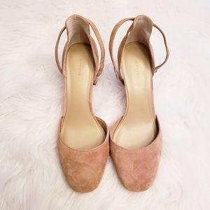 Ann Taylor Eliza Sz 8M Tan Suede Leather Toe Shoes